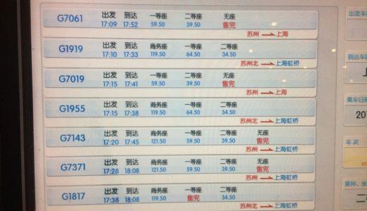 上海から蘇州への電車移動とチケットの取り方